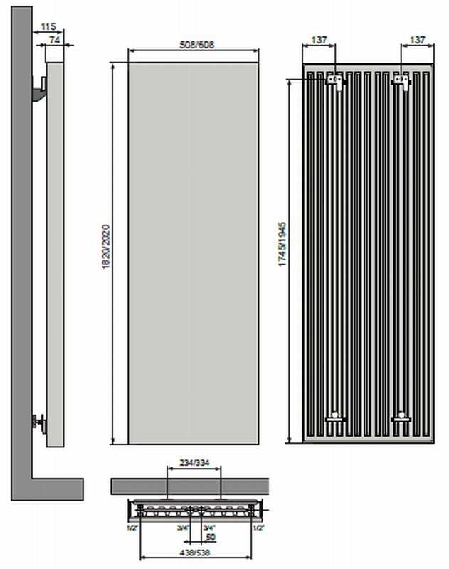 vasco vertiline vg radiateur design vertical plat 60x202cm 1915watt blanc 11166060820201188901. Black Bedroom Furniture Sets. Home Design Ideas