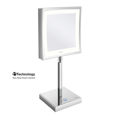 Aliseo LED Cubik make-up spiegel 21.5cm messing/staal chroom