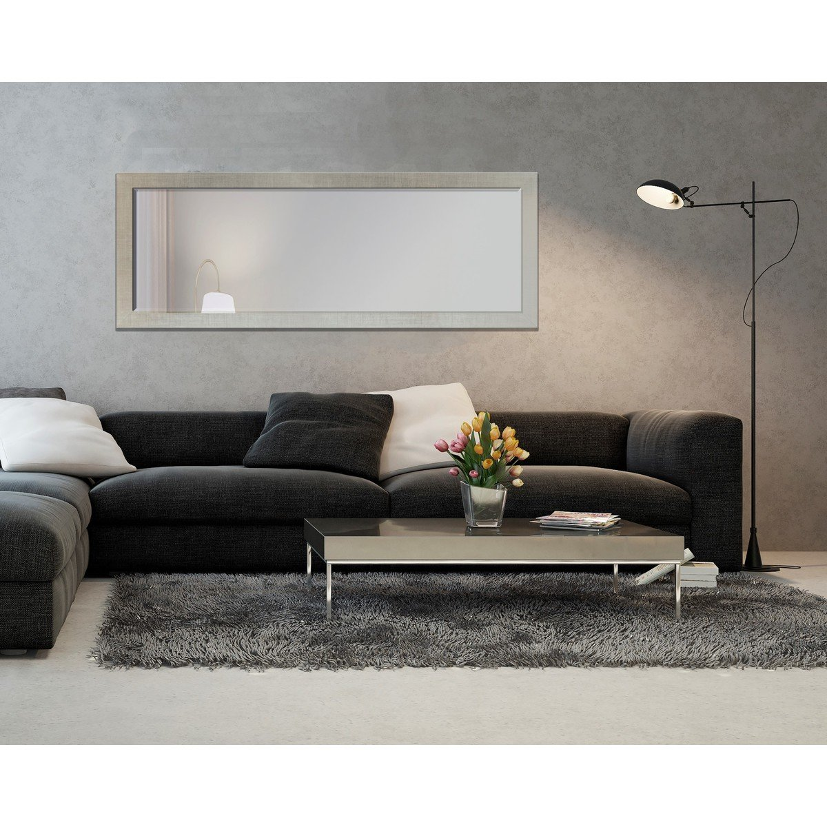 fox modern flim miroir mural 63x183cm avec cadre biseau chrome 301z50170f. Black Bedroom Furniture Sets. Home Design Ideas