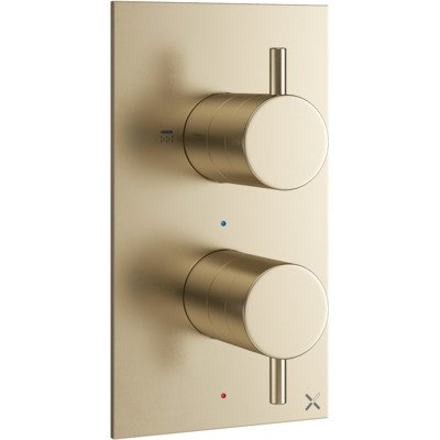 Crosswater MPRO Robinet de douche thermostatique encastrable vertical 2 voies laiton brossé