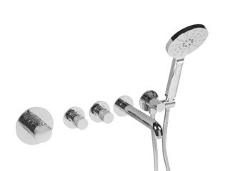 Saniclass Brauer Round Set encastrable thermostatique avec bec de bain et douchette à main chrome poli SW63970