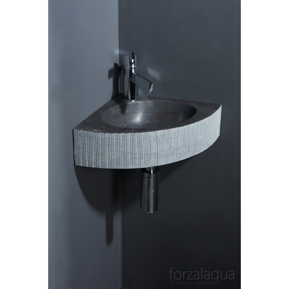 forzalaqua turino lavabo wc d 39 angle 30x30x10cm triangulaire pierre de taille cisel bleu gris. Black Bedroom Furniture Sets. Home Design Ideas