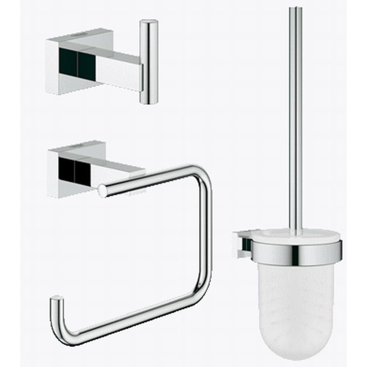 grohe essentials cube set d 39 accessoires de toilette 3 1 chrome 40757001. Black Bedroom Furniture Sets. Home Design Ideas