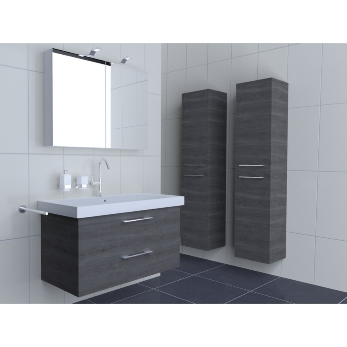 royal plaza kalaoa meuble sous lavabo 105x52cm avec 2 tiroirs ch ne gris 18929. Black Bedroom Furniture Sets. Home Design Ideas