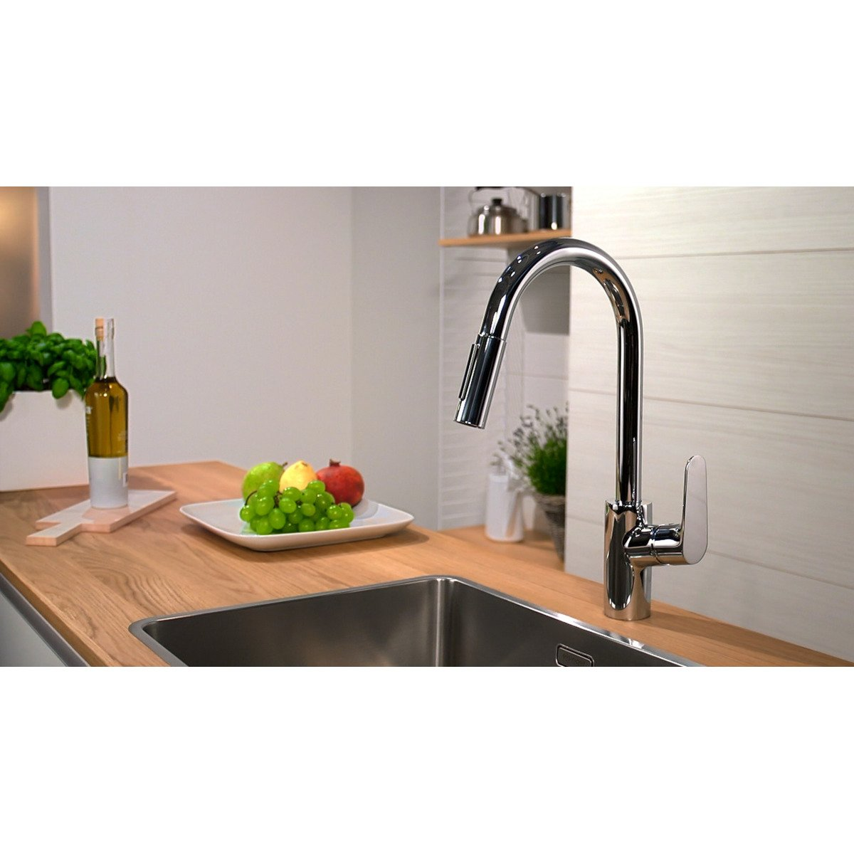 hansgrohe focus robinet de cuisine avec mousseur extractible look inox 31815800. Black Bedroom Furniture Sets. Home Design Ideas