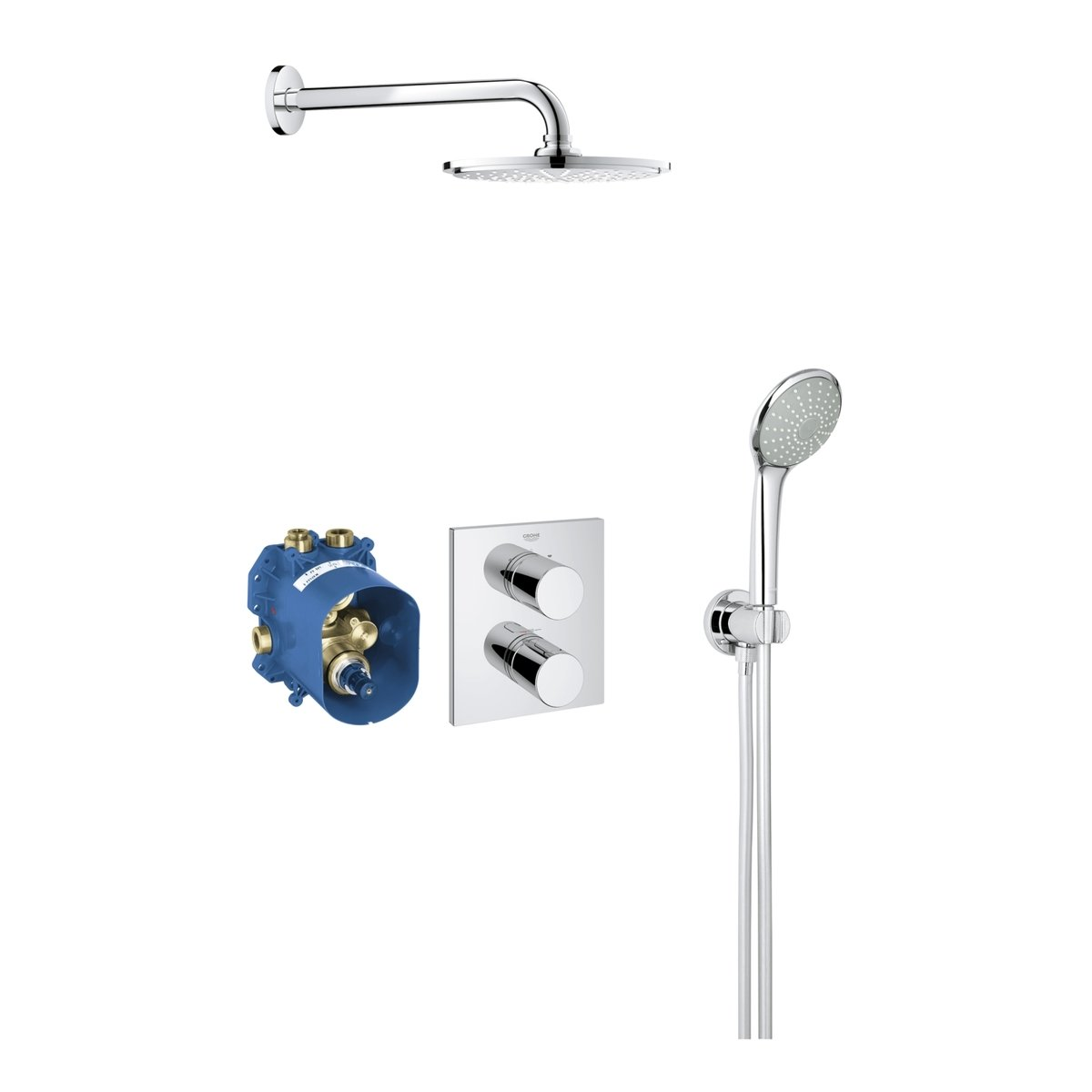 grohe grohtherm 3000 cosmopolitan perfect shower set compleet met hand en hoofddouche met inbouw. Black Bedroom Furniture Sets. Home Design Ideas