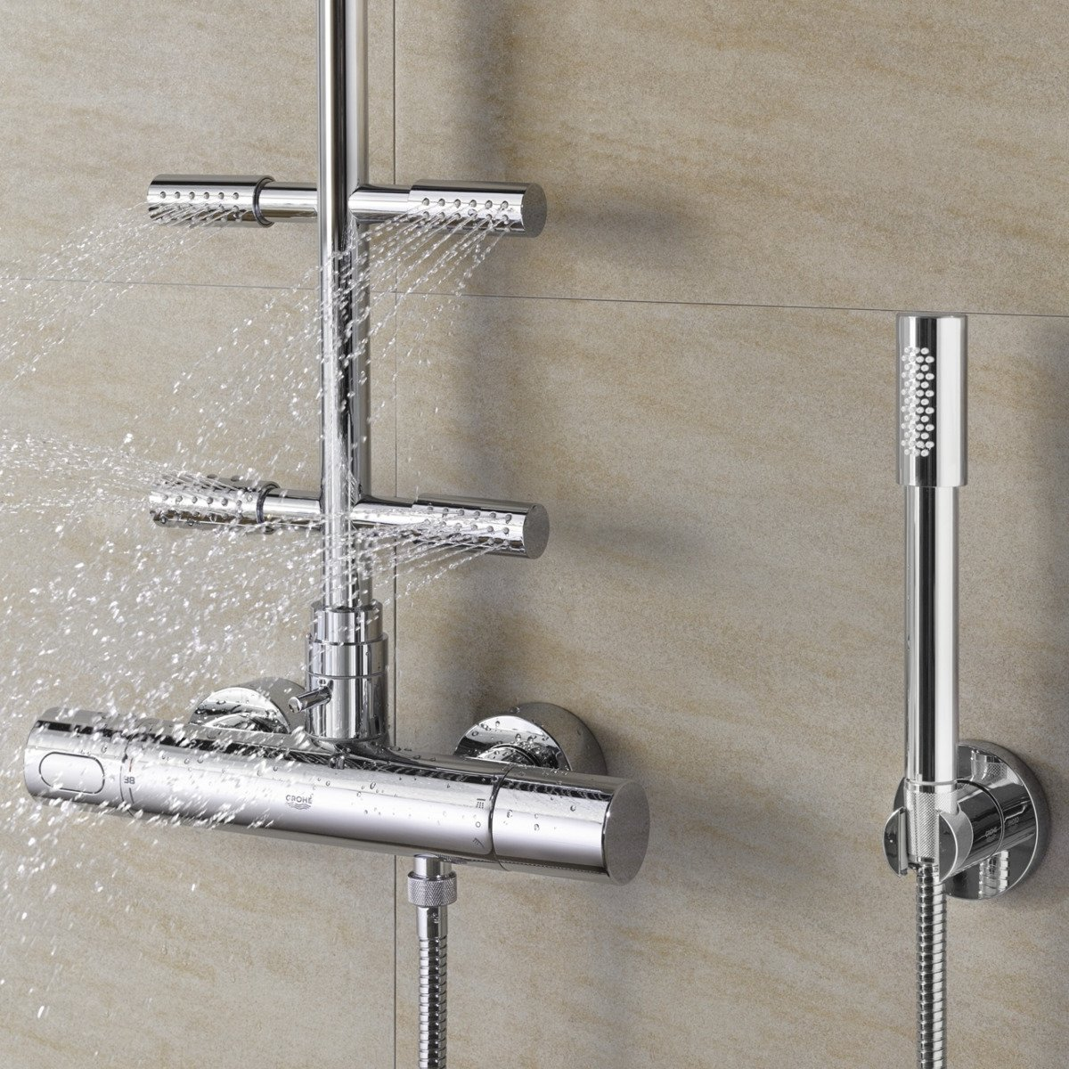 grohe rainshower set de douche avec thermostat de douche avec aquadimmer 3000 et douche de t te. Black Bedroom Furniture Sets. Home Design Ideas