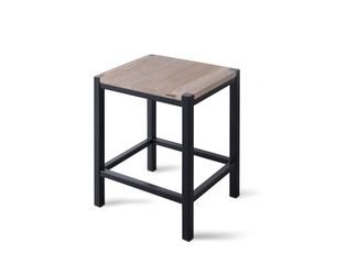 Looox Wooden collection douche stool 35x30x45 met frame mat zwart eiken mat zwart SW73172