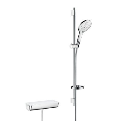 Hansgrohe Ecostat select thermostaat met raindance 150 3jet air unicas 90 wit chroom