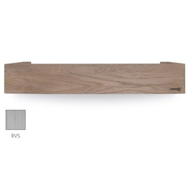 Looox Wooden collection shelf box 60cm met bodemplaat rvs geborsteld eiken geborsteld rvs