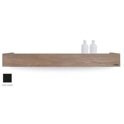 Looox Wooden collection shelf box 90cm met bodemplaat mat zwart eiken mat zwart