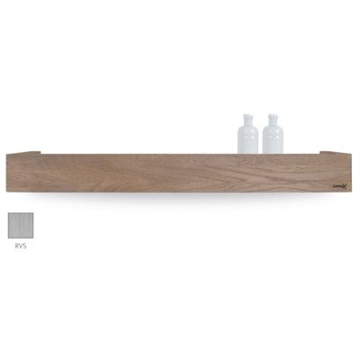 Looox Wooden collection shelf box 90cm met bodemplaat rvs geborsteld eiken geborsteld rvs