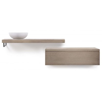 Looox Wood collection Plan vasque 100x30x40cm Chêne old grey
