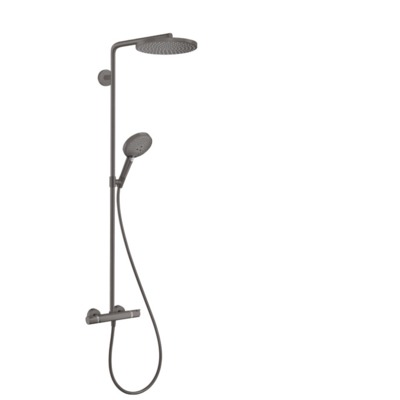 Hansgrohe Raindance 240 PowderRain 1jet showerpipe: m. Ecostat Comfort douchekraan thermostatisch m. Raind. Select S 120 3jet handd. en hoofdd. 1jet brushed black chroom 27633340
