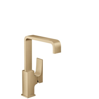 Hansgrohe Metropol 1-gats wastafelkraan 230 m. push open waste m. 120° draaibare uitloop 16.5cm brushed bronze 32511140