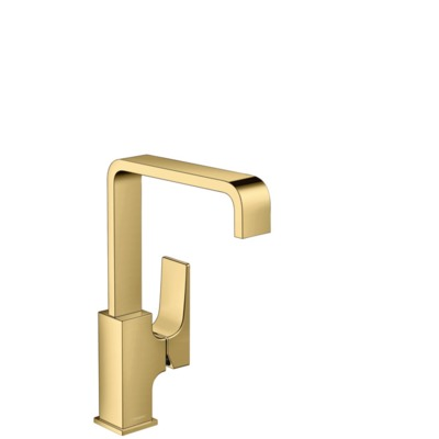 Hansgrohe Metropol 1-gats wastafelkraan 230 m. push open waste m. 120° draaibare uitloop 16.5cm polished gold 32511990