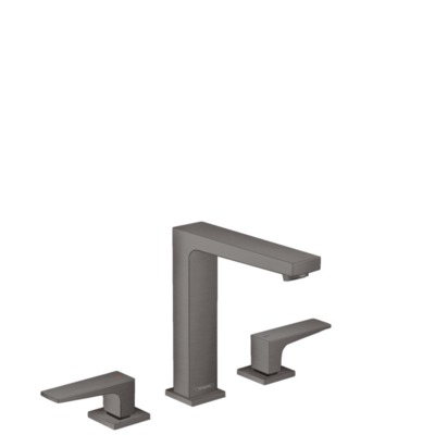 Hansgrohe Metropol 3-gats wastafelkraan 160 m. push open waste m. voorsprong vaste uitloop 15.2cm brushed black chroom 32515340