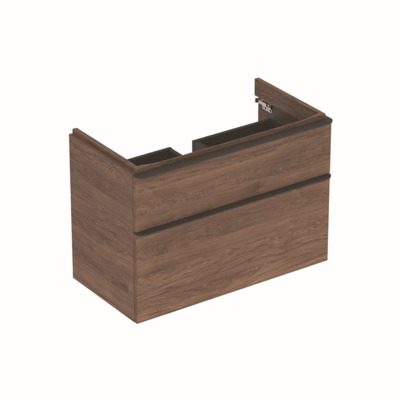 Geberit Smyle Square wastafelonderbouwkast m. 2 laden 88.4x61.7x47cm noten 500354JR1