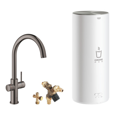 Grohe Red keukenkraan c-uitloop + combi boiler hard graphite