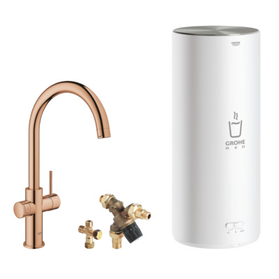 Grohe Red keukenkraan c-uitloop + combi boiler warm sunset