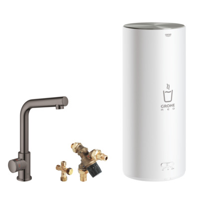 Grohe Red keukenkraan l-uitloop + combi boiler hard graphite