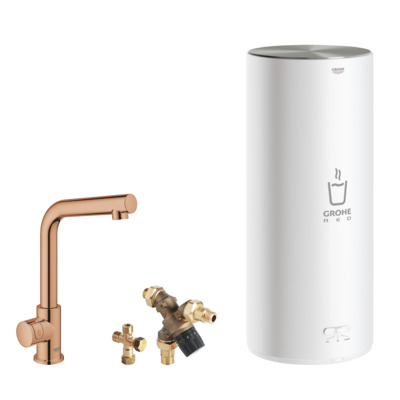Grohe Red keukenkraan l-uitloop + combi boiler warm sunset
