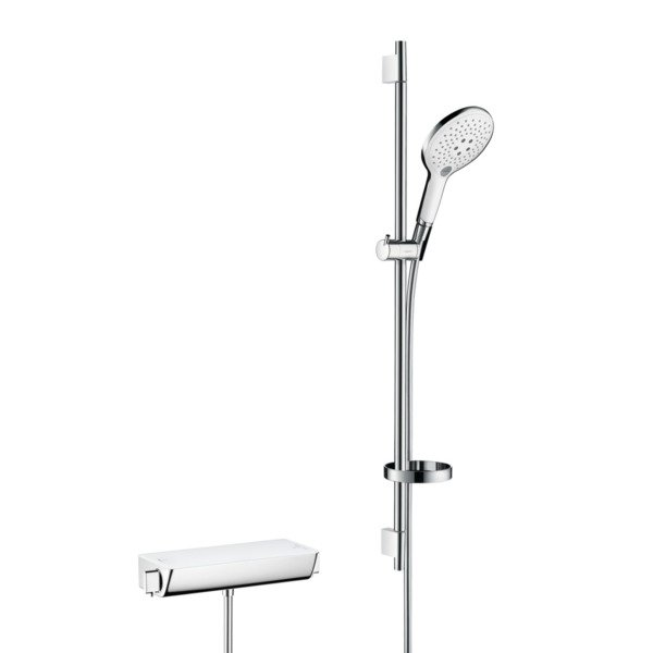 Hansgrohe Ecostat select thermostaat met raindance 150 3jet air unicas 90 wit chroom 27037400