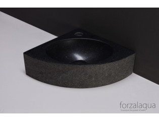 Forzalaqua Turino Lave-main d'angle 30x30x10cm 1 trou de robinet triangle granit adouci flammé anthracite SW230746