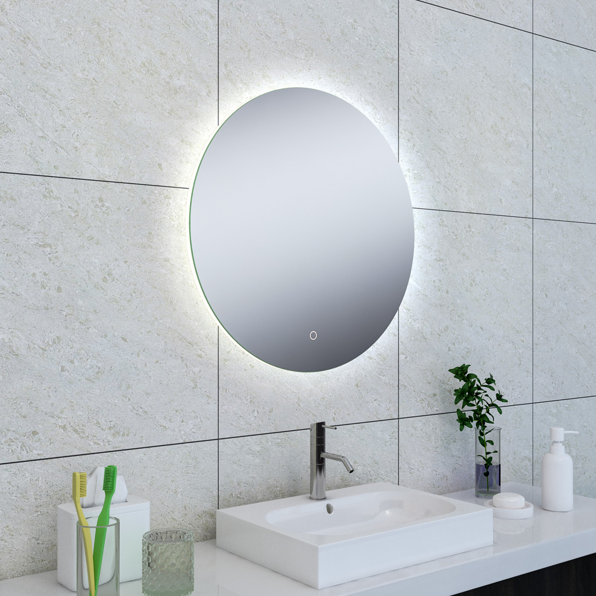 wiesbaden soul miroir avec lumi re led 60cm rond. Black Bedroom Furniture Sets. Home Design Ideas