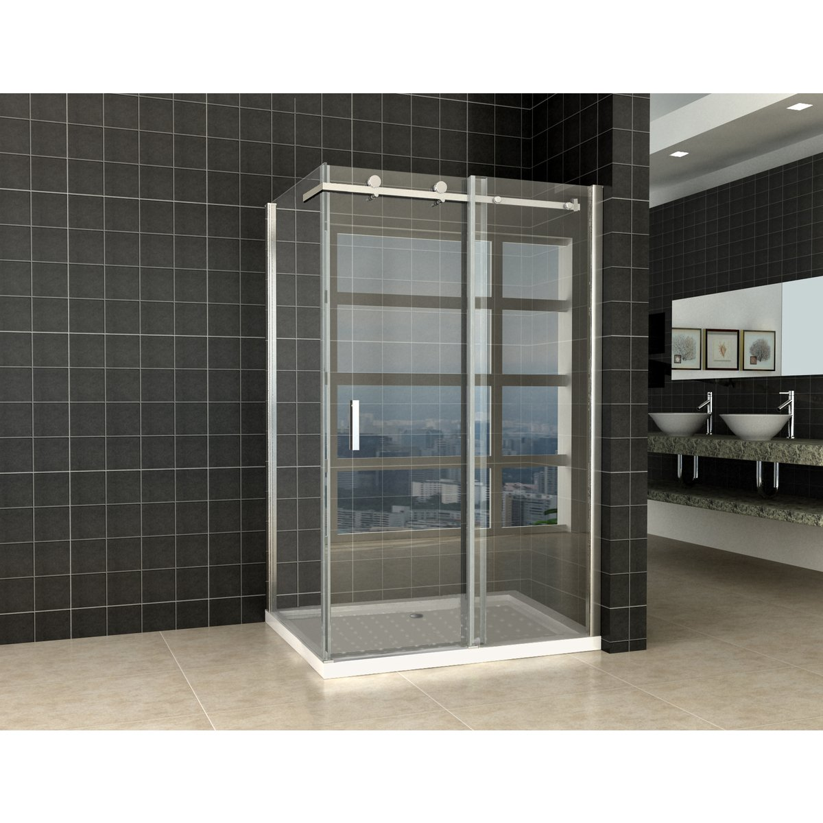 praya shower porte de douche coulissante avec paroi lat rale 120x90x200cm chrome vitre nano 8mm. Black Bedroom Furniture Sets. Home Design Ideas