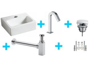 Praya Wiesbaden One Pack Mini Leto Lavabo WC avec Kappa chrome SW95739