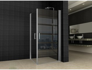 Wiesbaden Twice Shower Dubbele swingdeur UNI 90x90x200 chroom 8mm dik NANO coating glas SW10425