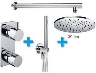 Praya One Pack Set de douche thermostatique encastrable rond avec bras mural et douche de tête 30cm chrome SW62523