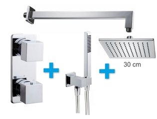 Praya One Pack Set de douche thermostatique encastrable avec bras mural et douche de tête 30cm chrome SW62527