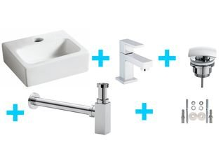 Praya Wiesbaden One Pack Mini Leto Lavabo WC avec Rombo chrome SW95740
