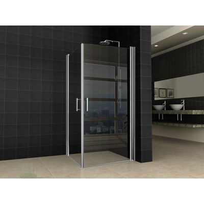 Wiesbaden Twice Shower Dubbele swingdeur UNI 90x90x200 chroom 8mm dik NANO coating glas