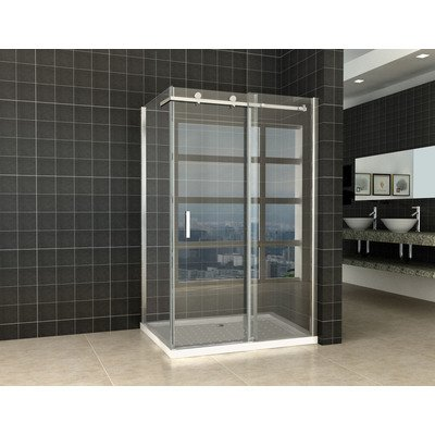 Wiesbaden Block Shower Douchedeur met zijwand 120x80x200cm chroom 8mm dik NANO coating glas