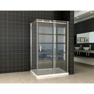 Wiesbaden Block Shower douchecabine 120x90x200cm chroom 8mm dik NANO coating glas