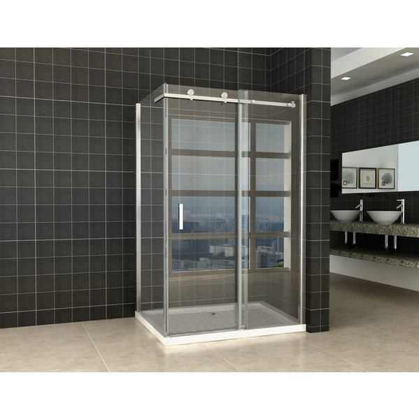 Exellence Block Shower Douchedeur met zijwand 120x80x200cm chroom 8mm dik NANO coating glas 20.3852