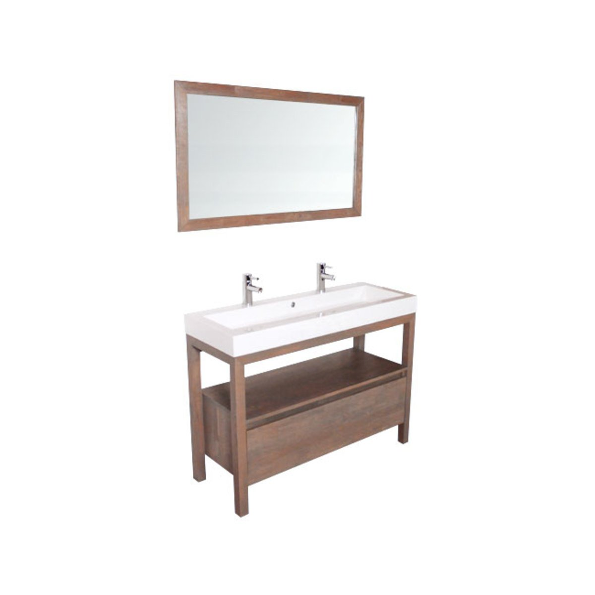 saniclass natural wood meuble salle de bain avec miroir 120cm grey wash avec vasque blanc 2. Black Bedroom Furniture Sets. Home Design Ideas