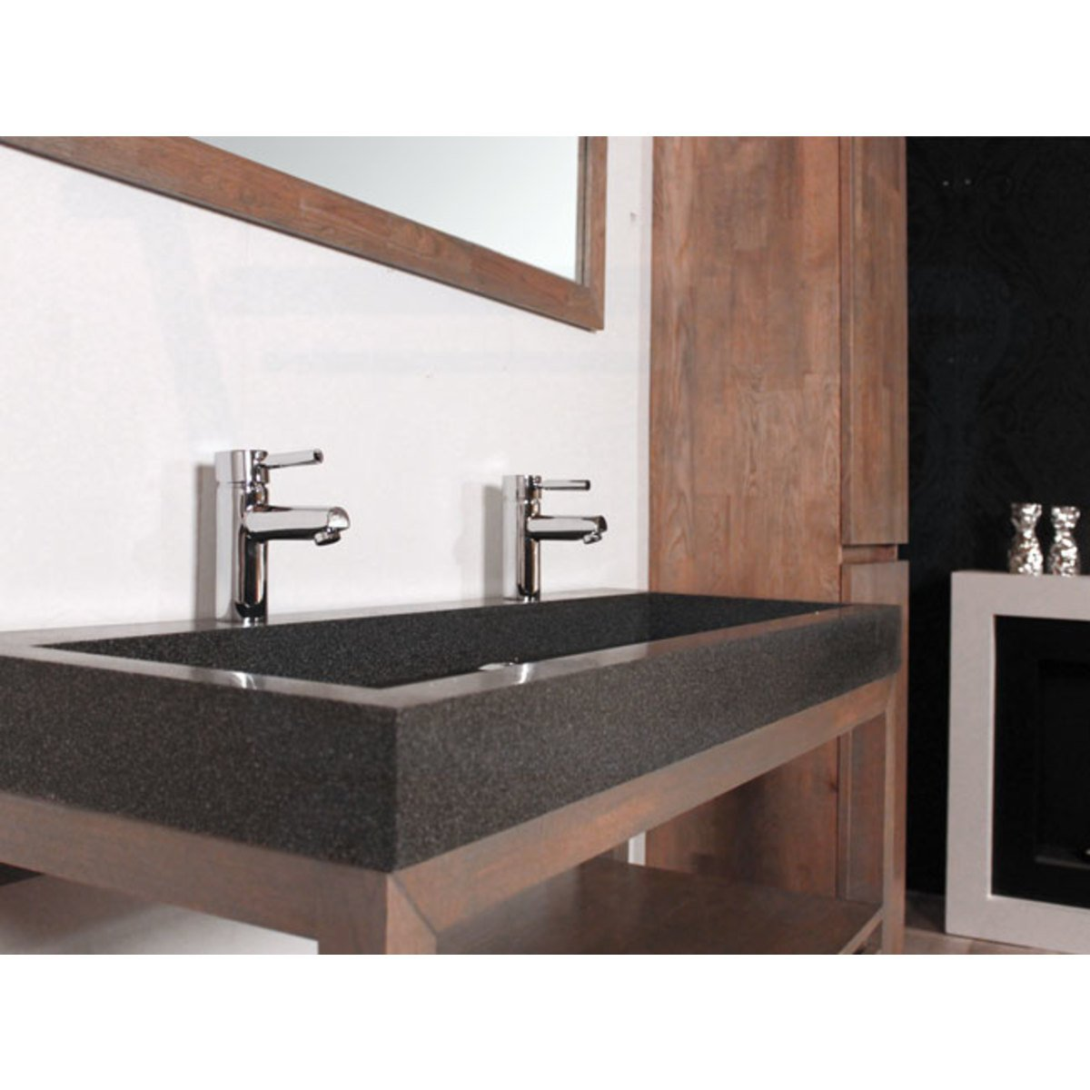 saniclass natural wood meuble salle de bain avec miroir. Black Bedroom Furniture Sets. Home Design Ideas