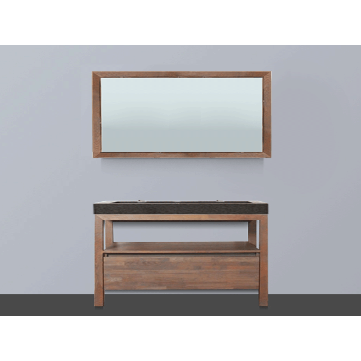 saniclass natural wood meuble salle de bain avec miroir 120cm grey wash avec vasque en pierre. Black Bedroom Furniture Sets. Home Design Ideas