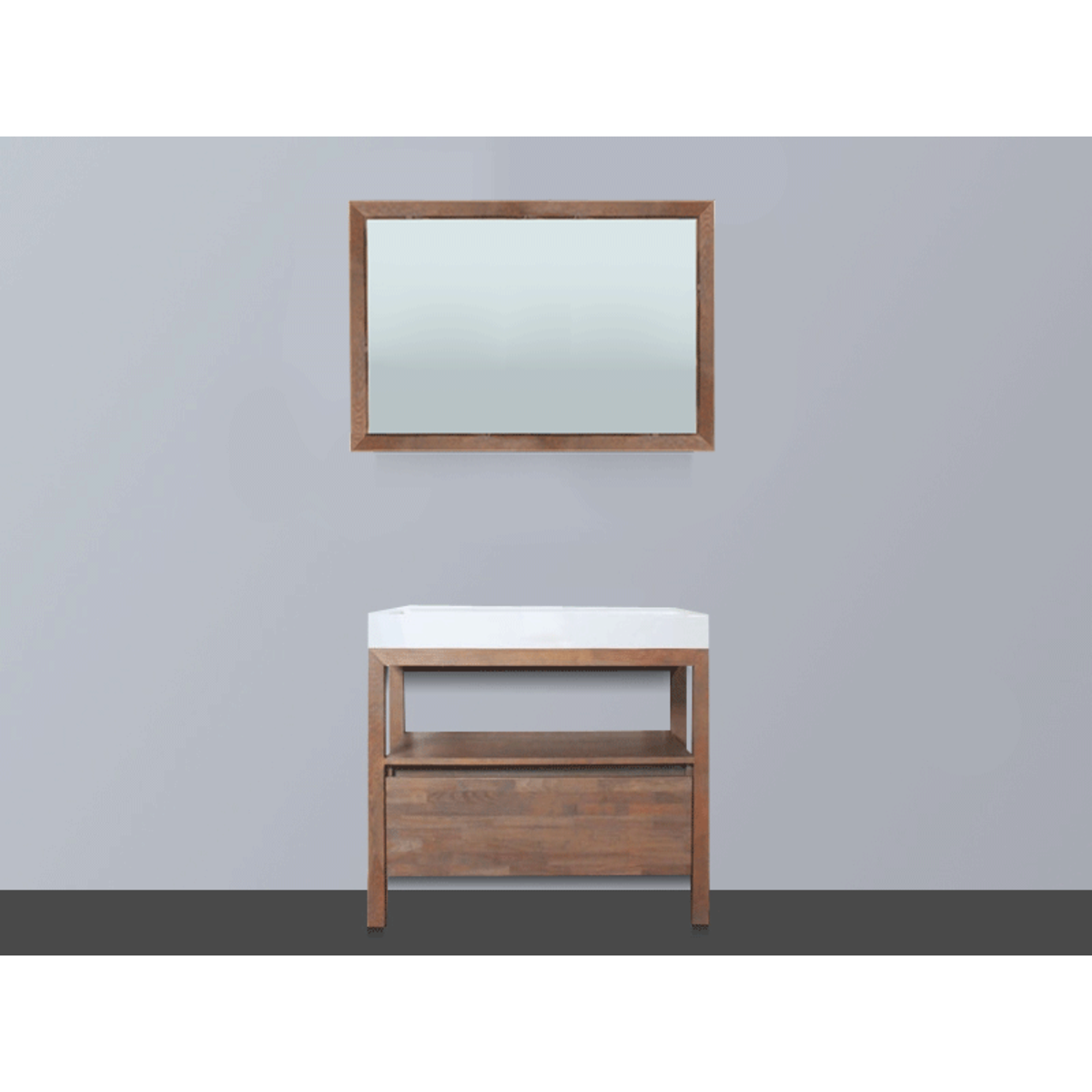 Saniclass natural wood meuble avec miroir 80cm grey wash for Miroir 1 metre