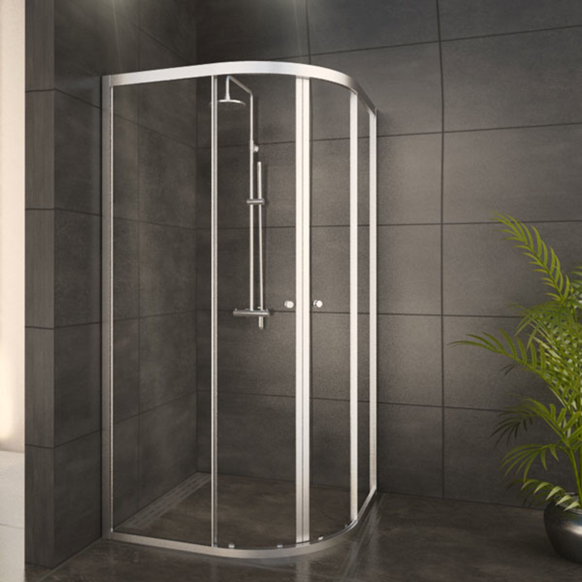 adema glass cabine de douche quart de rond 2 portes coulissantes 100x100x185 profil chrome et. Black Bedroom Furniture Sets. Home Design Ideas