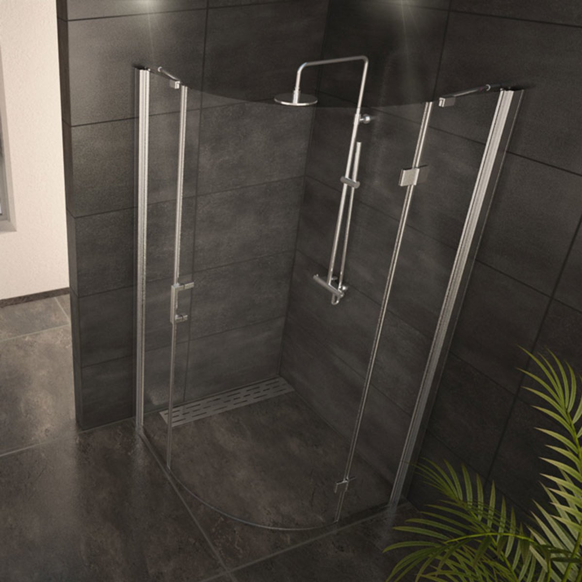 adema glass cabine de douche quart de rond avec 1 porte pivotante 90x90x200cm vitre claire. Black Bedroom Furniture Sets. Home Design Ideas