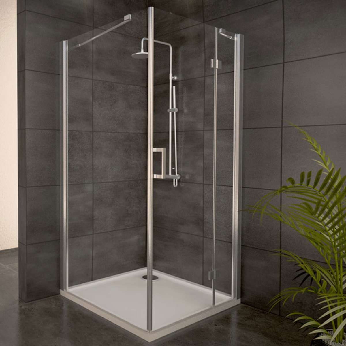 adema glass cabine de douche carr avec 1 porte pivotante 90x90x204cm vitre claire avec receveur. Black Bedroom Furniture Sets. Home Design Ideas