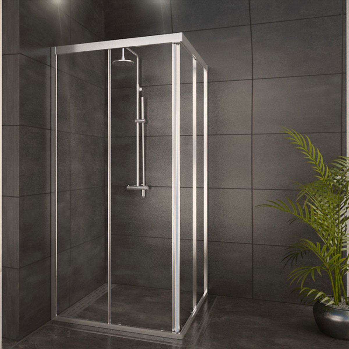 adema glass cabine de douche carr avec 2 portes coulissantes 90x90x185cm profil chrome et vitre. Black Bedroom Furniture Sets. Home Design Ideas
