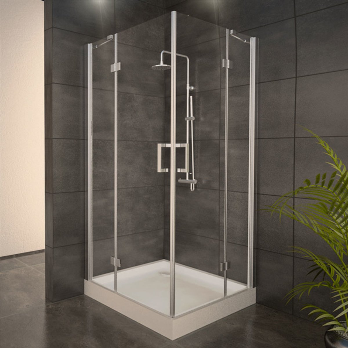 adema glass cabine de douche carr avec 2 portes pivotantes 90x90x210cm vitre claire avec. Black Bedroom Furniture Sets. Home Design Ideas