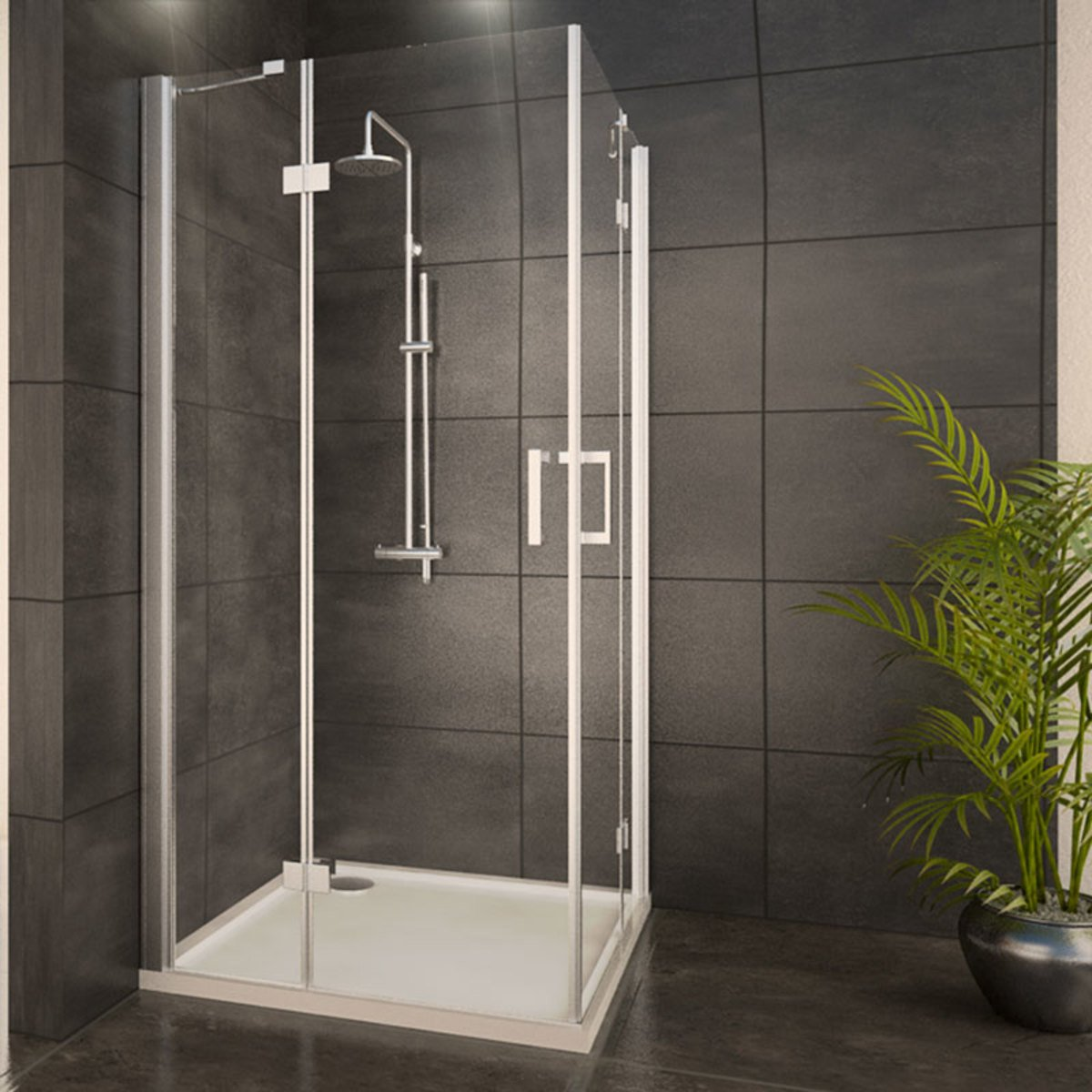 adema glass cabine de douche carr avec 2 portes pivotantes 90x90x204cm vitre claire avec. Black Bedroom Furniture Sets. Home Design Ideas