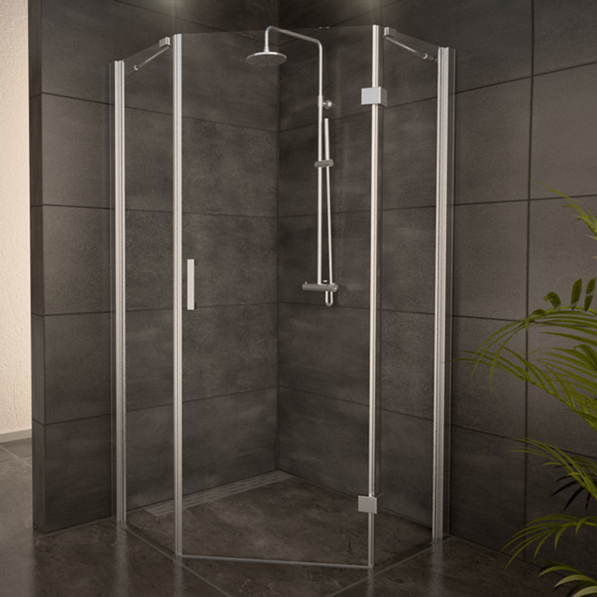 adema glass cabine de douche pentagone avec 1 porte pivotante 90x90x200cm vitre claire. Black Bedroom Furniture Sets. Home Design Ideas